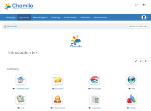 Screenshot of a course homepage in Chamilo