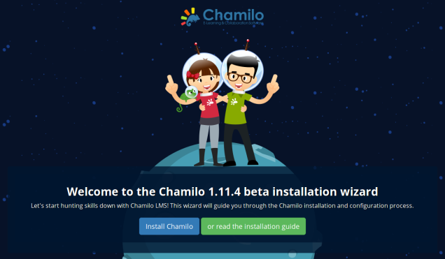 Chamilo 1.11.4 beta install welcome screen