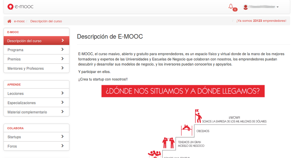 A screenshot of one oScreenshot of e-moocf e-mooc's screens